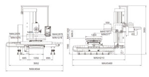 размеры универсального-горизонтально расточного станка fortworth icn-110l