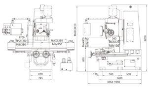 Универсальный фрезерный станок Fortworth CS-WCN-3V-A-размеры