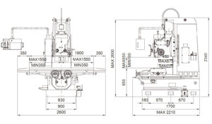 Универсальный фрезерный станок Fortworth CS-WCN-4V размеры