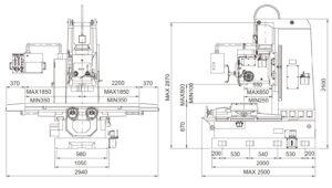 Универсальный фрезерный станок Fortworth CS-WCN-5VL размеры