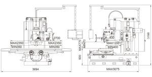 Универсальный фрезерный станок Fortworth CS-WCN-8VHL размеры